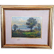 Guiseppi Cafaro Impressionistic Landscape Scene with Water Trees and Mountains