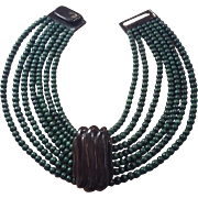Gerda Lynggaard For Monies Horn Wood Necklace Multi Strand Green Black Collar Choker