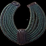 Gerda Lynggaard For Monies Horn Wood Necklace Multi Strand Green Black Collar Choker