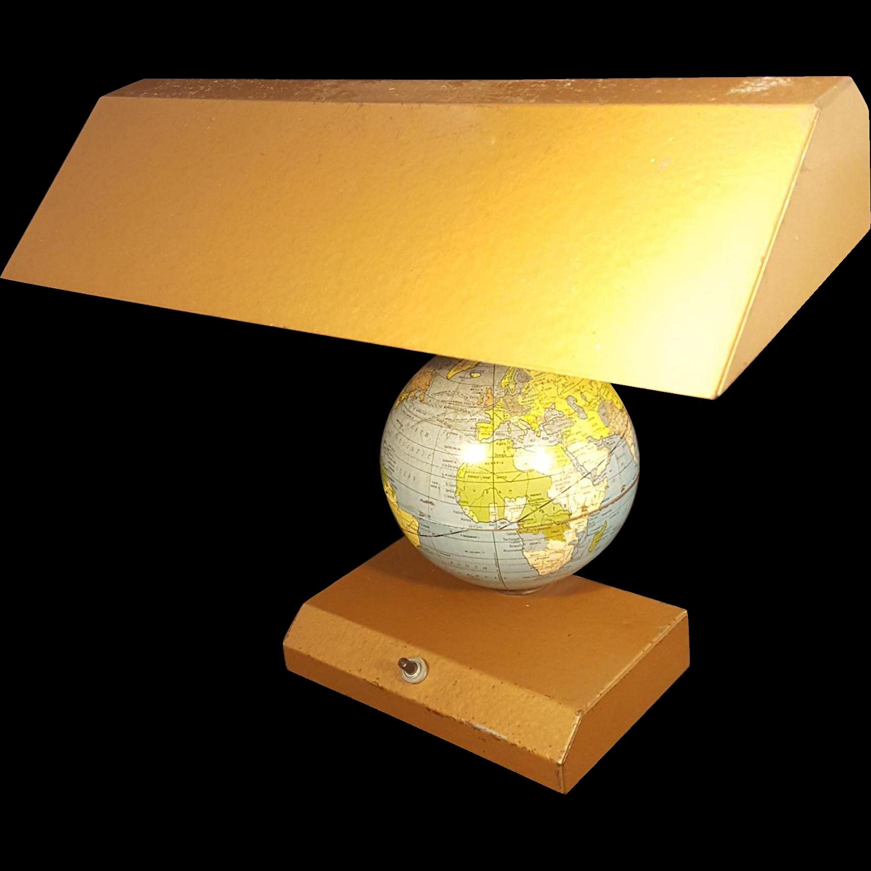 Mid Century Metal Globe Desk Lamp