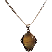 Golden Harvest Moonstone Set In Sterling Silver On Sterling Chain Vintage Necklace