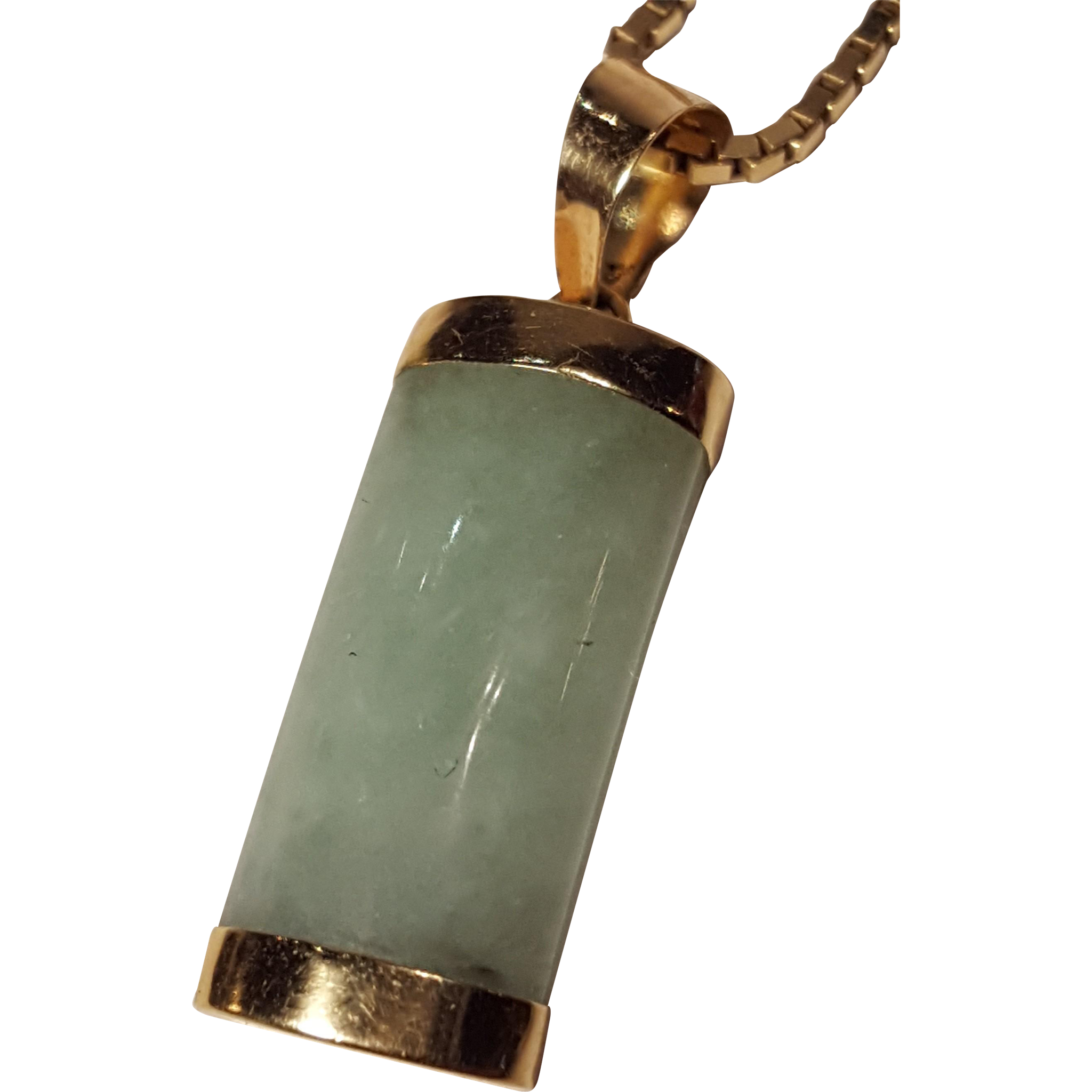 Vintage Jade and 14k Gold Pendant with 14k Gold Box Chain