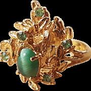 Vintage 18k Gold HGE Chrysoberyl Green Cats Eye Ring Size 8.5