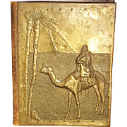 Hammered Brass Orientalist Middle Eastern Moroccan Portfolio or Book Cover Tuareg Man on Camel