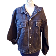 Vintage Harley Davidson Jean Jacket with Raised Leather Logo on Back Size Medium (W) or Mens Small