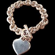 Sterling Silver Heart Charm Vintage Silver Charm Bracelet Starter Chainlink