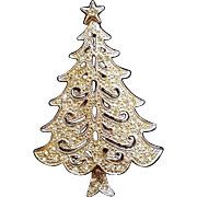 Vintage Hedy Rhinestone and Filigree Silver Tone Christmas Tree Pin Brooch