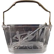 Art Deco Heisey Glass Octagon Ice Bucket w/ Sand Carving etching of Man with Greyhounds & ice cuber