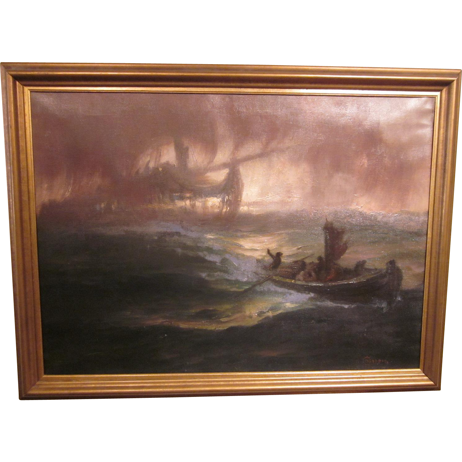 "19th c. Oil On Canvas ""Sighting of the Flying Dutchman"" by Hermann Hendrich"
