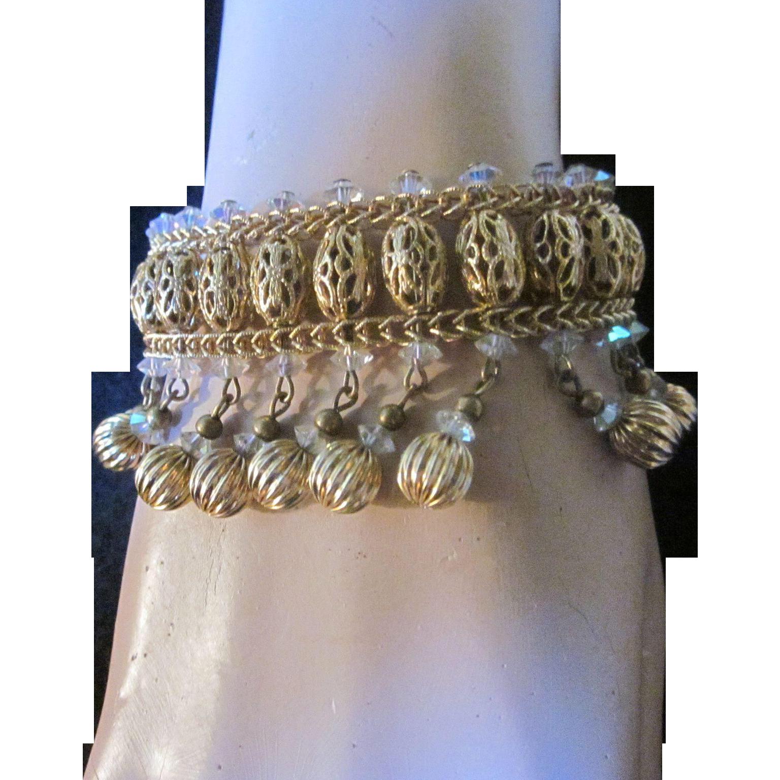 Vintage Signed Hobe Faceted Crystal and Brass Beaded Dangling Bracelet