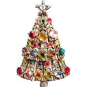 Vintage Hollycraft Colorful Rhinestone Silvertone Christmas Tree Pin Brooch with Star
