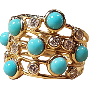 Ippolita 18k Gold Turquoise & Diamond Multi-Stone Constellation Ring Size 6.5