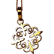 Jemily Fleur de Lis Diamond and 18k Gold Charm on 18k Gold Necklace