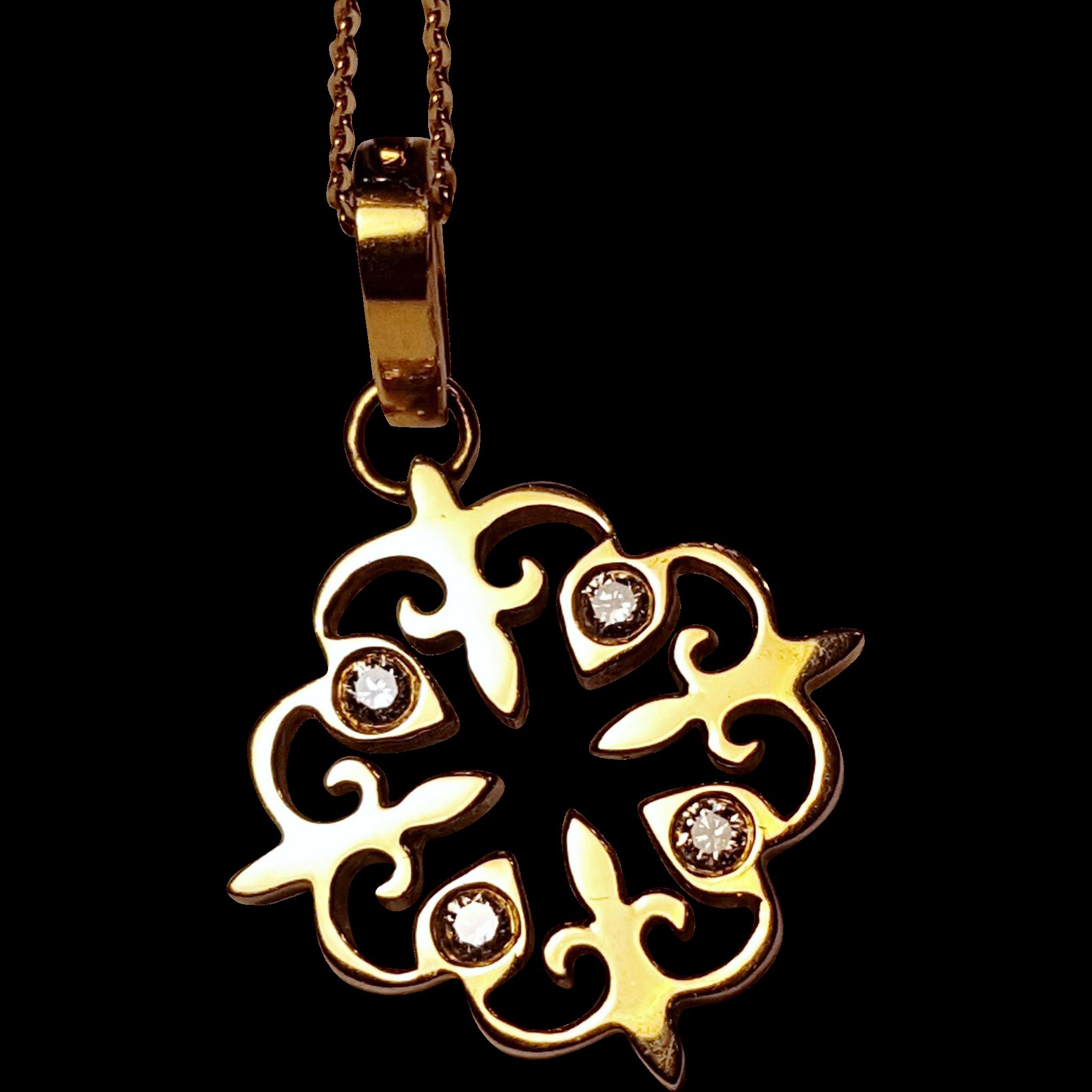 Jemily Fleur de Lis Diamond and 18k Gold Charm on 18k Gold Necklace
