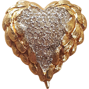 Jomaz Heart Angel Wing Vintage Rhinestone Pin Brooch