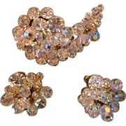 Sparkling Juliana Demi-Parure Brooch and Earring Set Clear & Crystals
