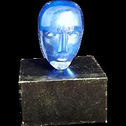 Kosta Boda Bertil Vallien Art Glass Blue Head Brain Sculpture On Base