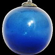 Vintage Kugel Handblown Glass Cobalt Blue Christmas Ornament, Excellent Condition