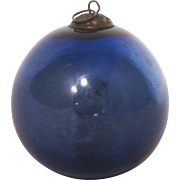 Vintage Kugel Handblown Glass Cobalt Blue Bauble Christmas Ornament