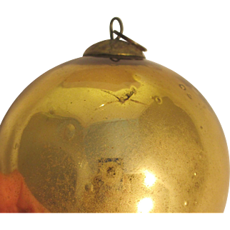 Vintage Kugel Handblown Glass Gold Bauble Ornament, Excellent Condition
