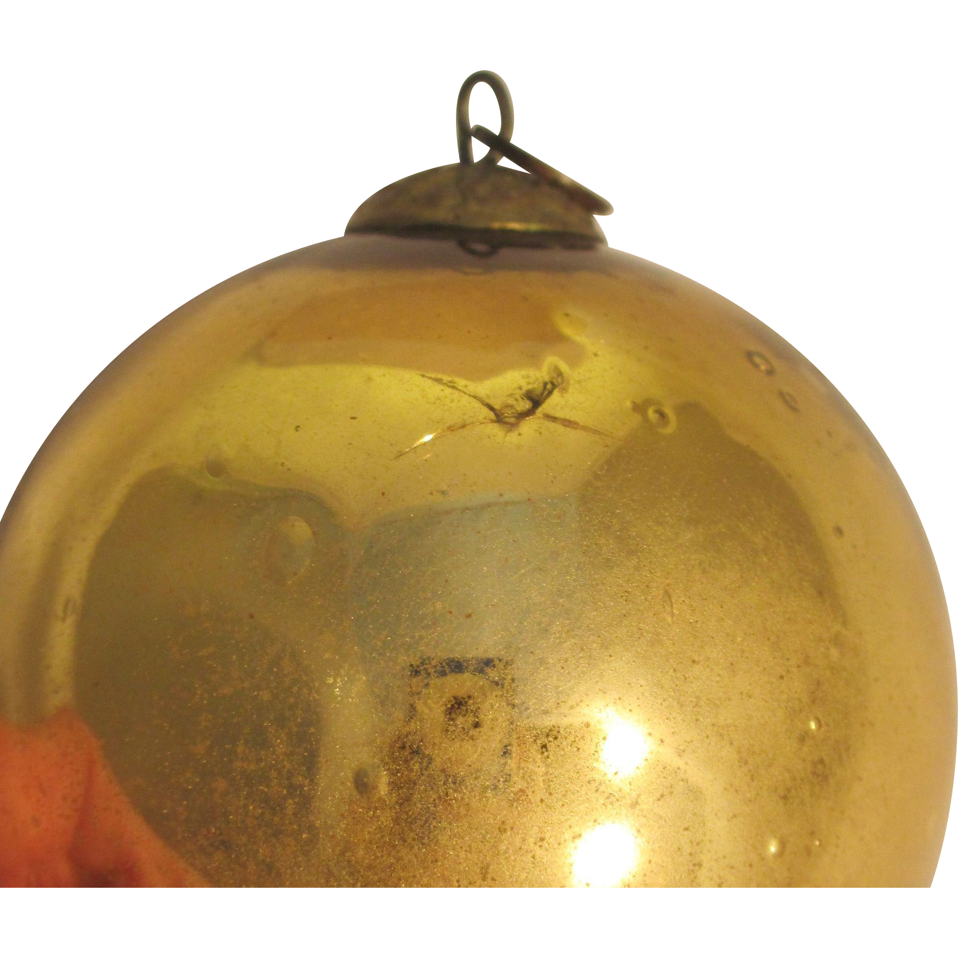 Vintage Kugel Handblown Glass Gold Bauble Ornament, Excellent Condition