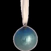 Vintage Kugel Handblown Glass Light Blue Bauble Ornament