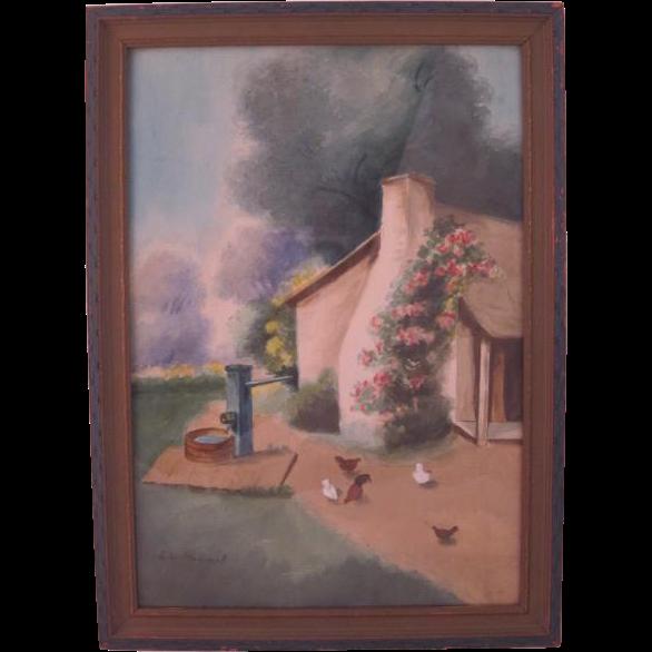 Vintage Framed L.W Stewart Watercolor, Farmhouse Scene, c. 1920's