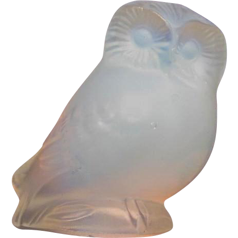 Lalique France Owl Opalescent Crystal Figurine