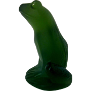 Rainette Lalique French Crystal Lime Green Frog