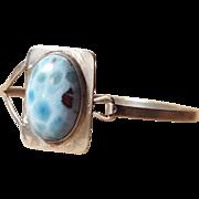 Vintage Sterling Larimar Silver Blue Stone Bracelet