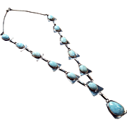 Sterling 12 Stone Larimar Blue Silver Necklace