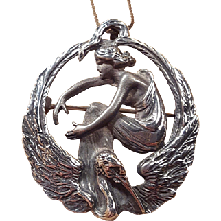 Antique sterling Leda and the Swan Pendant Pin Brooch Circa 1890 On Sterling Chain