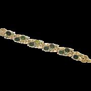 Vintage Signed LISNER Emerald Green & Aurora Borealis Rhinestone in Silver tone Metal Bracelet