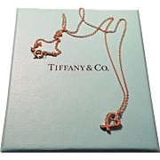 Tiffany Loving Heart 18k Rose Gold Diamond Heart Necklace Pendant on 16in Chain