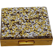 Vintage Lucite Silver and Gold Star Confetti Coin Compact Case