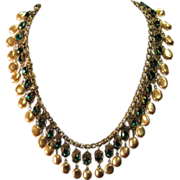 Vintage Miriam Haskell style Bib Fringe Collar Necklace Emerald Glass and Faux Pearls