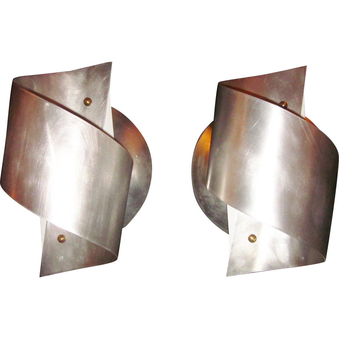 Pair of French Mid Century Brushed Aluminum Wall Sconces