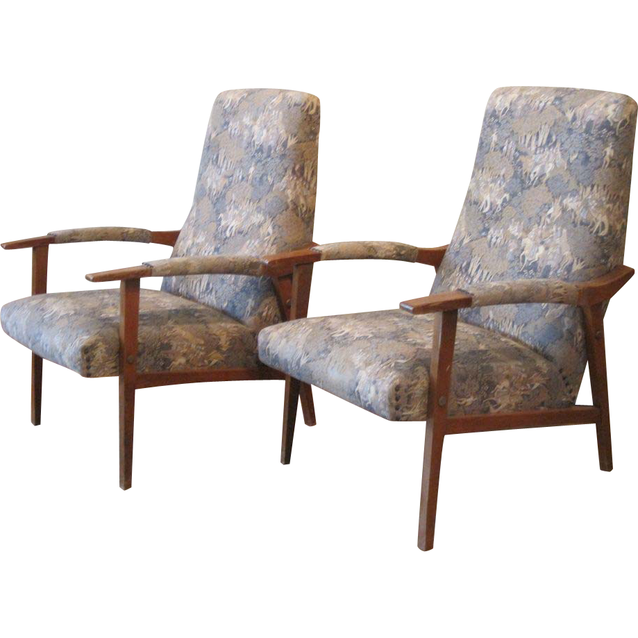 Pair Of French Mid Century Modern MCM Upholstered Armchairs   Loungers :  The Lazy Dog Antique Store | Ruby Lane