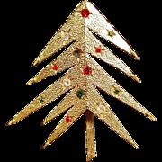 MCM Mylu Gold Tone Rhinestone Christmas Tree Holiday Brooch