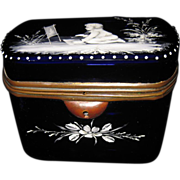 Antique Mary Gregory Cobalt Blue Glass Box Casket