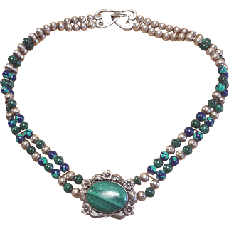 Sterling Silver Navajo Malachite Lapis and Azurite Floral Feather Necklace