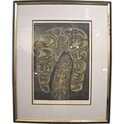 """""""Withered Tree"""" by Masao Yoshida, Mixed Color Intaglio, Signed and Dated"""