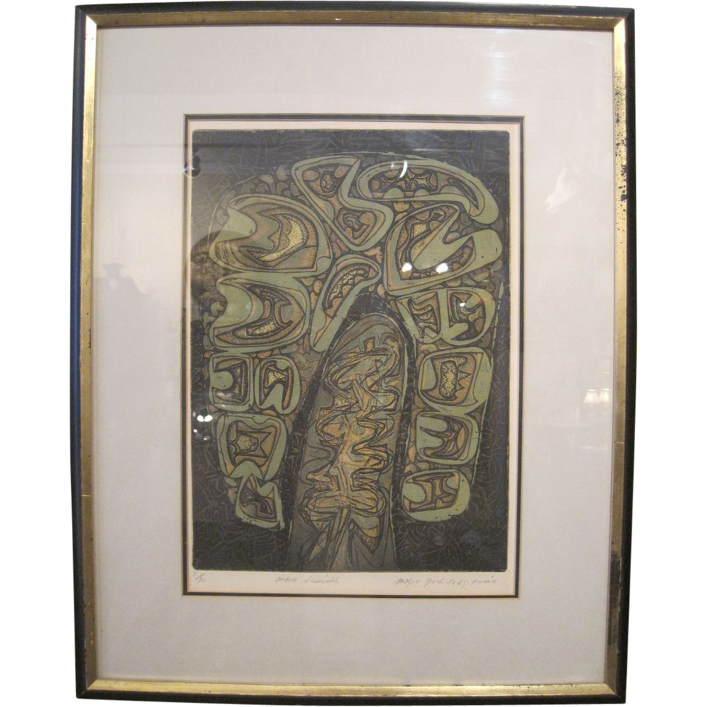 """Withered Tree"" by Masao Yoshida, Mixed Color Intaglio, Signed and Dated"