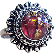 Faux Mexican Opal Sterling Silver Poison Ring Locket With Orange Red And Purple Opalescent Inclusions Size 10