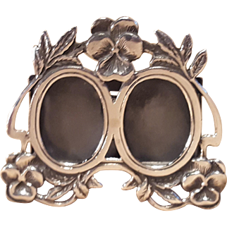 Miniature Sterling Silver Double Floral Picture Frame 2 Inch