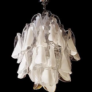 Italian MCM Murano Mazzega Glass Petal Chandelier