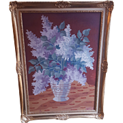 Needlepoint Lilac Floral Bouquet In Vase Signed MGM or MGN Framed In Newcomb - Macklin Gold Gilt Frame Vintage Needlework