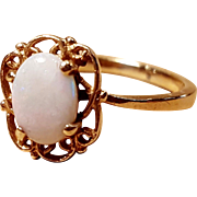 Vintage 10k Yellow Gold Opal With Filigree Ring Size 6
