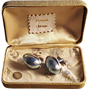Blue Rainbow Osmena Mother of Pearl Sterling Silver Cufflink Set
