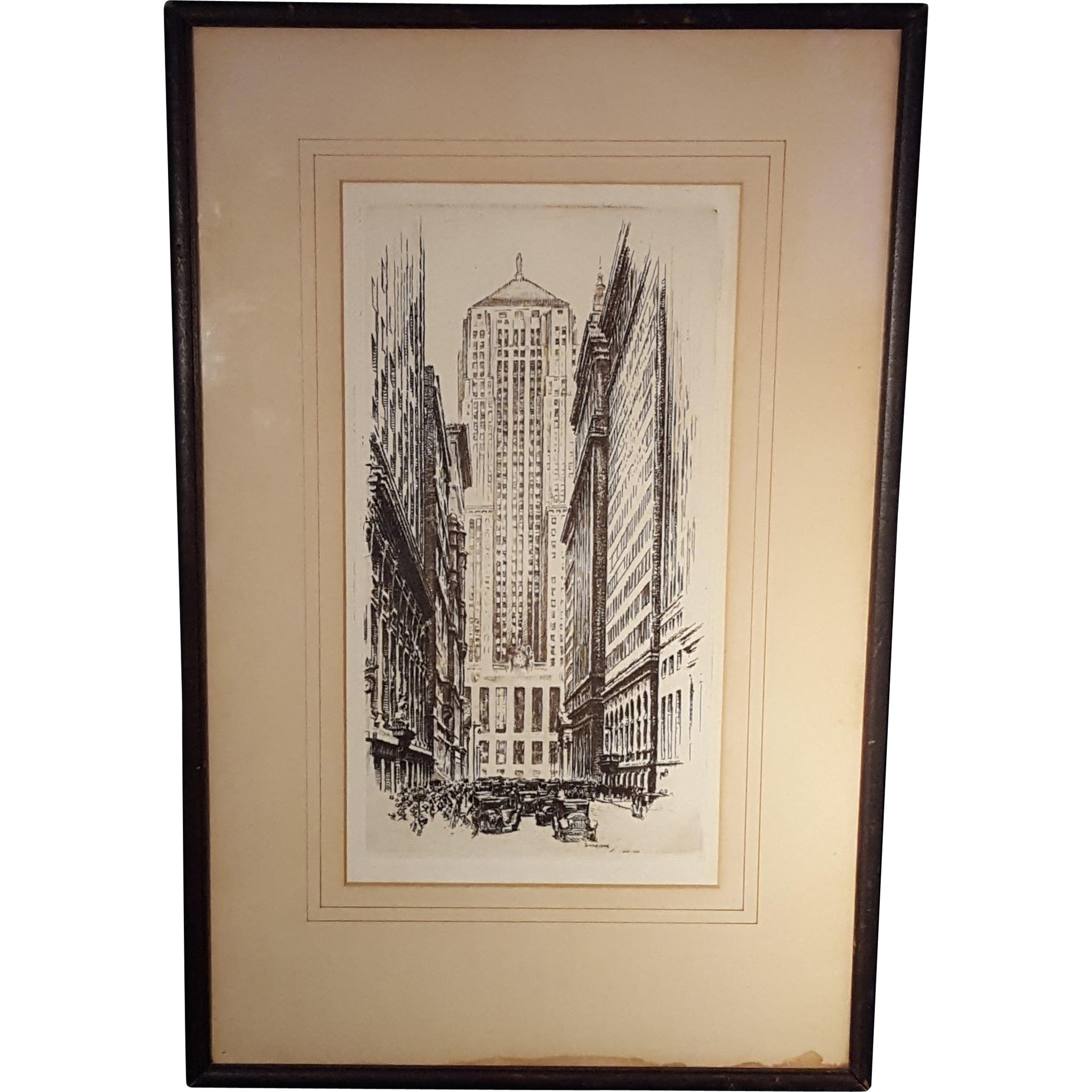 Otto Schneider (1875-1946) Etching of Chicago Board of Trade Building Original 1930's Signed In The Plate